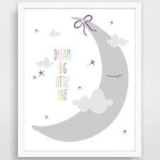 Dream Big Little One Sleepy Moon Paper Print