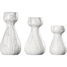 3 Piece Ceramic Candle Stick Set