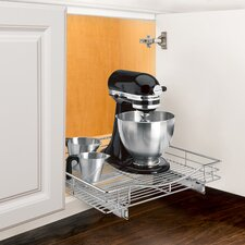 Roll Out Cabinet Organizer - Pull Out Drawer - Under Cabinet Sliding Shelf - 20 inch wide x 21 inch deep - Chrome