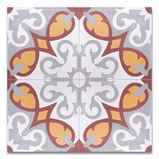 """Agadir Moroccan 8"""" x 8"""" Cement Patterned/Field Tile in Gray/Red/Yellow"""