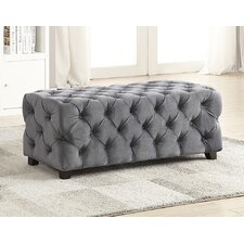 Button Tufted Velvet Ottoman by !nspire