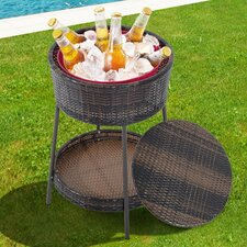 Party Pool Garden Patio Storage Ice Bucket with Wicker Lid