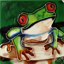 Frog on A Rock Tile Wall Decor