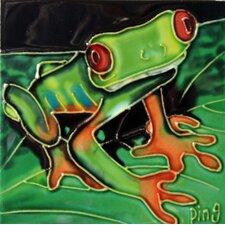 Frog on A Leaf Tile Wall Decor