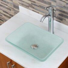 Peaslee Frosted Tempered Glass Rectangular Vessel Bathroom Sink