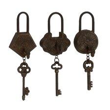 3 Piece Classic Unique Metal Lock and Key Wall Decor Set