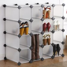 Interlocking 16-Compartment Shoe Rack