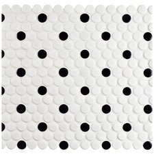 "Retro 0.75"" x 0.75"" Penny Porcelain Mosaic Tile in Matte White with Black Dot"