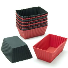 Silicone Mini Rectangle Reusable Cupcake and Muffin Baking Cup (Set of 12)