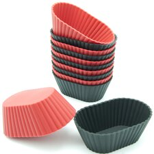 Silicone Mini Oval Reusable Cupcake and Muffin Baking Cup (Set of 12)