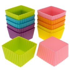 Silicone Mini Square Reusable Cupcake and Muffin Baking Cup (Set of 12)