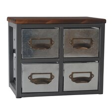 Short Galvanized 4 Drawer Chest by Cheungs