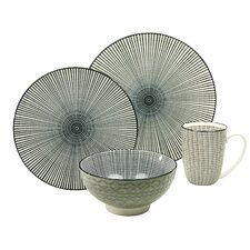 New Style Black Sun 4 Piece Breakfast Set, Service for 1