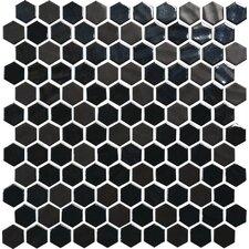 "Uptown Glass Hexagon 1"" x 1"" Mosaic Tile in Ebony"