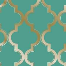 "Tempaper® Marrakesh 33' x 20.5"" Trellis Foiled Wallpaper Roll"