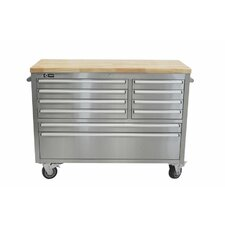 "Stainless Steel Rubberwood 48"" Wide 8 Drawer Bottom Rollaway Chest"