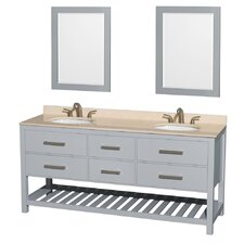Natalie 72 Double Gray Bathroom Vanity Set with Mirror by Wyndham Collection