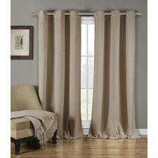 Mildred Solid Semi-Sheer Grommet Curtain Panels (Set of 2)
