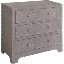 Walhorn Linen and Nailhead 3 Drawer Chest by House of Hampton