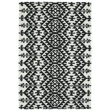 Handmade Black / Ivory Indoor / Outdoor Area Rug