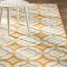 Stella White/Orange Indoor/Outdoor Area Rug