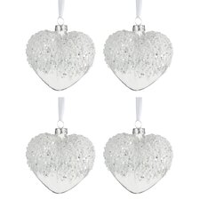 4 Piece Heart Pearls Glass Shaped Ornament Set (Set of 4)