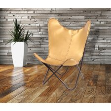 Gold Leather Butterfly Lounge Chair by Fashion N You by Horizon Interseas