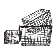 3 Piece Rectangular Nesting Wire Basket Set