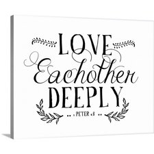 Love Eachother Deeply White' by Amy Cummings Textual Art on Wrapped Canvas  by Great Big Canvas