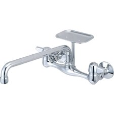 Double Handle Wall Mounted Standard Kitchen Faucet with Soap Dish