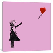 Girl with Balloon by Banksy Graphic Art on Wrapped Canvas in Pink