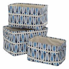 Pisces 3 Piece Storage Fabric Basket Set