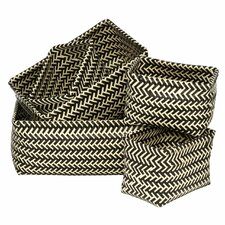 5 Piece Woven Storage Plastic Basket Set