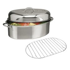 "Top Roast 16"" Oval Roaster with Lid and Roasting Rack"
