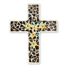 Easter Lilies Artisan Crafted Upcycled Glass Mosaic Cross Wall Décor