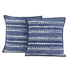Hmong Charm Striped Hill Tribe Batik Cotton Pillow Cover (Set of 2)