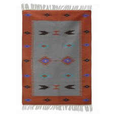 Hand-Woven Coral/Gray Area Rug