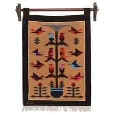 Birds in Eden Andean Wool Hand Woven Birds by Cerapio Vallejo Tapestry