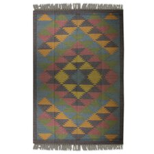 Hand-Woven Green/Gray/Yellow Area Rug