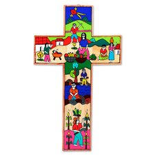Life in the Country Fair Trade Hand Painted Wood Cross Wall Décor