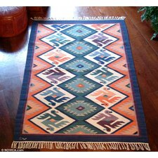 Handmade Green/Orange Area Rug