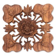 Balinese Life of the Lotus Suar Wood Signed Lotus Blossom Relief Panel Wall Décor
