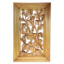 Hibiscus Tree Wood Relief Panel Wall Décor
