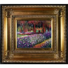 'Artist's Garden at Giverny' by Claude Monet Framed Painting Print on Canvas