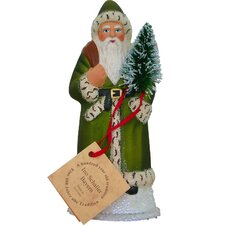 Schaller Paper Mache Candy Container Santa with Green Coat