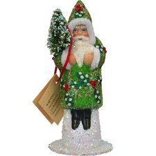 Schaller Paper Mache Candy Container Santa Beaded with Green Coat