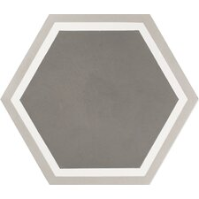 "Mediterranea Sor I 8"" x 8"" Quarry Hand-Painted Tile in Gray"