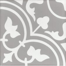 "Mediterranea Leo 8"" x 8"" Quarry Hand-Painted Tile in Gray/Beige"