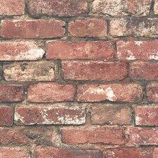 "Essentials Loft 33' x 20.5"" Brick Wallpaper Roll"