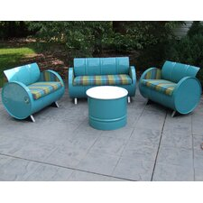Astoria Lagoon Indoor/Outdoor Garden Patio 4 Piece Seating Group with Cushion by Drum Works Furniture